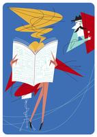 ビジネス新聞を読む女性と男性