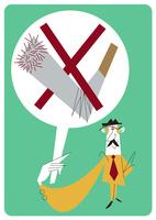 禁煙を掲げる男性