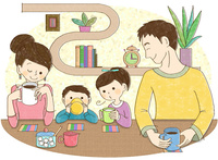 お茶をする家族