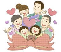 リボンとハートに囲まれる家族