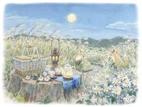 十五夜のススキ野原でピクニック 水彩イラスト