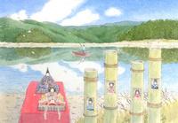 四万十川の雛祭り 水彩イラスト