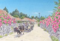 竹富島ブーゲンビリアに囲まれて牛車が行く 水彩イラスト