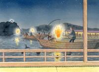 屋形船から見る幻想的な夜の鵜飼 水彩イラスト 02723000006| 写真素材・ストックフォト・画像・イラスト素材|アマナイメージズ