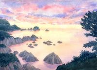 浦富海岸の夕焼け 水彩イラスト
