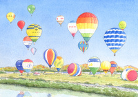 次々と飛び立つ熱気球 佐賀バルーンフェスタ 水彩イラスト