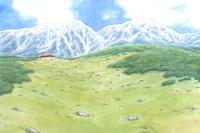 初夏の北アルプスと高原 水彩イラスト