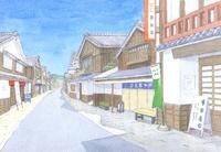 古い街並み おはらい町 水彩イラスト