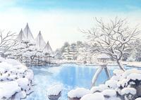 日本庭園の雪景色 兼六園 水彩イラスト