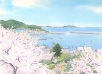 桜満開の港町 高台から海を見下ろす 水彩イラスト