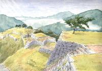 晩秋の城跡 水彩イラスト