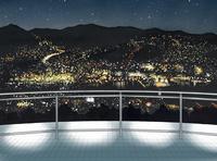 稲佐山山頂から臨む長崎夜景 水彩イラスト