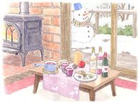 薪ストーブがあたたかい冬の山小屋 水彩イラスト