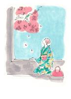 桜を眺める着物姿の女性