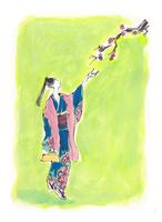 梅を眺める着物姿の女性