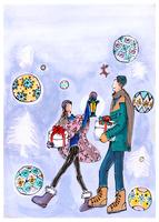 クリスマスの贈り物を持って歩く男女