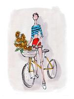 自転車に乗る若い女性 02736000024| 写真素材・ストックフォト・画像・イラスト素材|アマナイメージズ