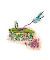 プレゼントと花と小鳥