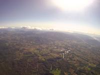 上空から撮影したニセコ町 太陽で輝く