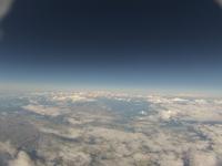 地球大気への突入 眼下に広がる空知平野と石狩川 雲海が近付く