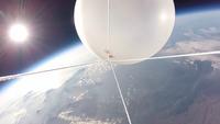 北海道上空から見た地球と宇宙と太陽とスペースバルーン