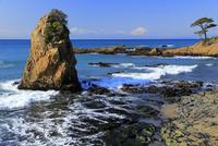 秋谷海岸より立石と富士山を望む
