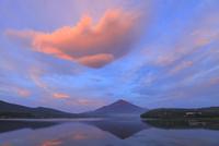 山中湖より朝焼けの吊るし雲と富士山