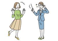 指し棒を片手にアドバイスをする女性と驚く女性