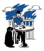 犬に待ての合図をしながらテラスでタバコを吸う男性