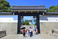 大阪城の桜門と観光客