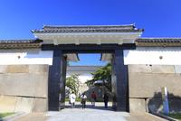 大阪城の大手門と観光客