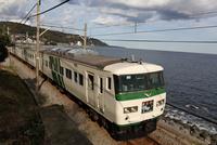 特急「踊り子」 伊豆の海沿いを走る