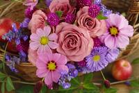 かごに飾ったバラとコスモス