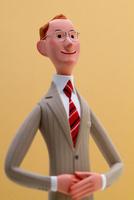遠くを見つめる誠実なビジネスマン(色背景)