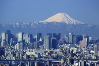 富士山と東京都心ビル群