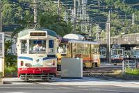 桟橋車庫を出発する路面電車(とさでん交通)