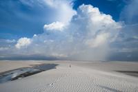 レンソイスの白砂の砂漠に浮かぶ風紋と入道雲
