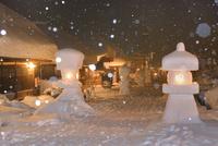 大内宿の雪景色(夜)
