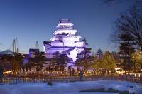 会津若松鶴ヶ城の絵ロウソク祭り