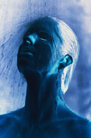Blue coloured: Woman under the shower