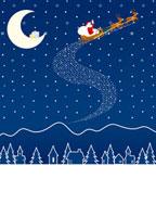 月と雪とそりに乗ったサンタクロース 07000000495| 写真素材・ストックフォト・画像・イラスト素材|アマナイメージズ