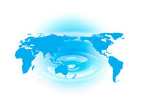 世界地図と波紋