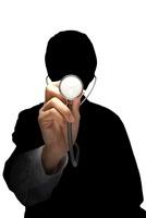 聴診器をあてる男性のシルエット 07000001058| 写真素材・ストックフォト・画像・イラスト素材|アマナイメージズ