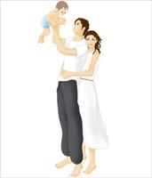 赤ちゃんを抱き上げる若夫婦