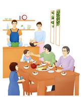 食卓を囲む3世代ファミリー