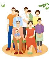3世代ファミリー集合 家族写真