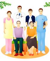 老夫婦と医療介護福祉スタッフ