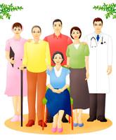 老夫婦と中高年夫婦と医療スタッフ