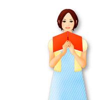 本を抱えて微笑む女性 イメージ