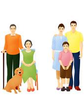 老夫婦と親子の三世代ファミリーと犬 07045000103| 写真素材・ストックフォト・画像・イラスト素材|アマナイメージズ
